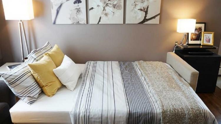 Small living room makeover with IKEA sleeper sofa