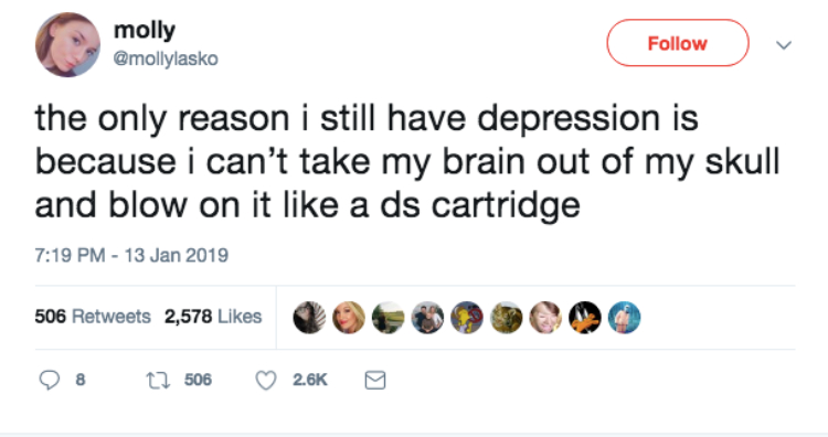 Image of depression tweet
