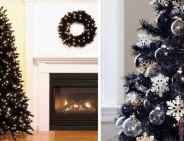 black Christmas trees and wreath arrangements