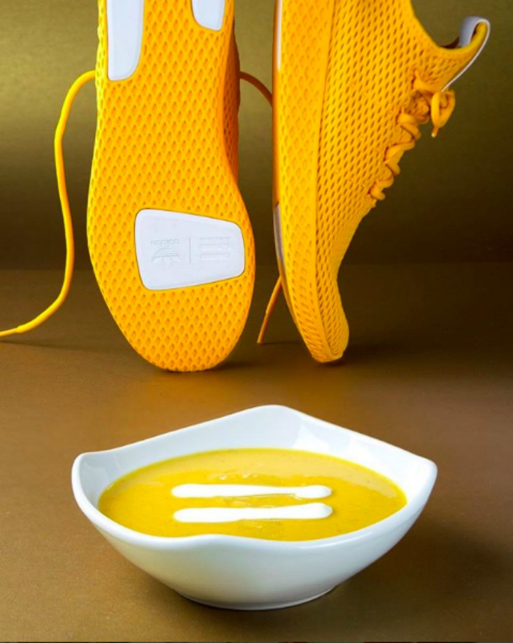 Image of mustard shoes paired with acorn soup