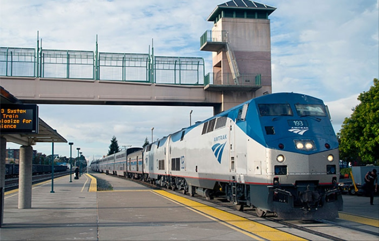 Amtrak train near station