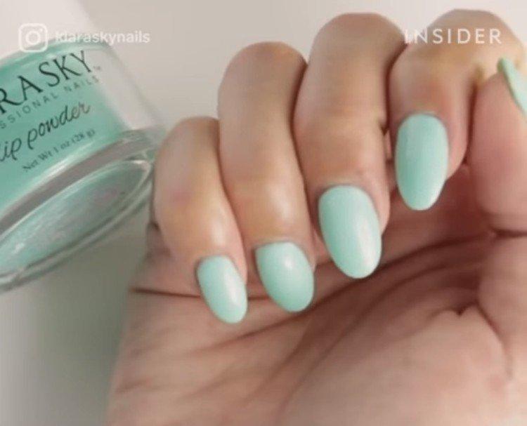 Blue manicure.