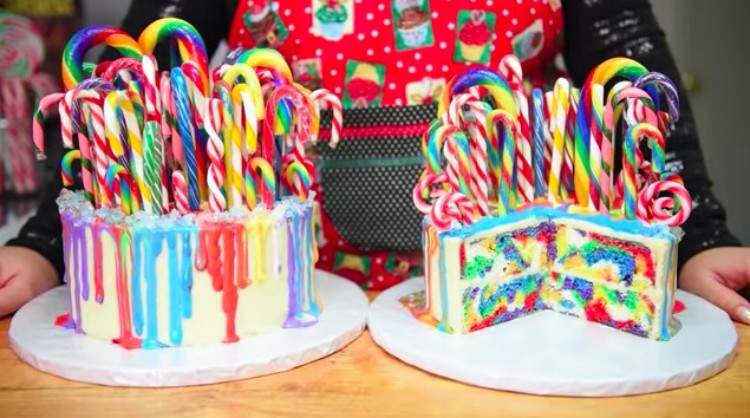 dessert candy cane cake