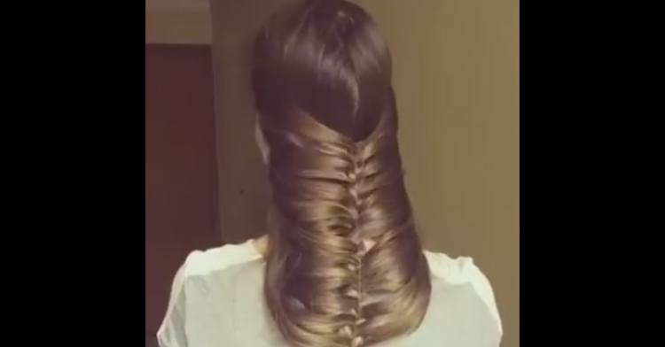 Under chin braid flipped backwards.