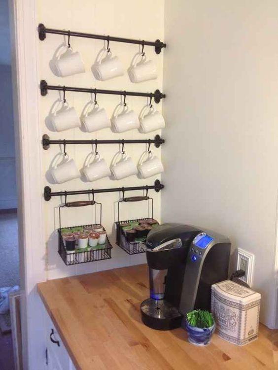 Towel bars for coffee station organization.