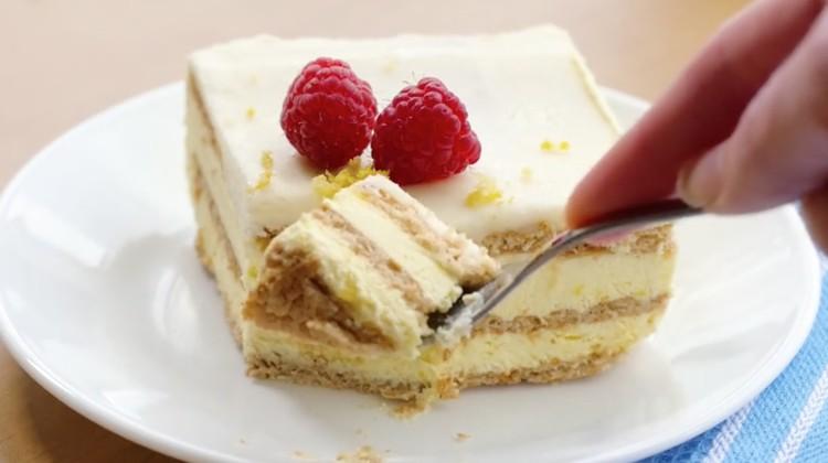 Lemon ice box cake.