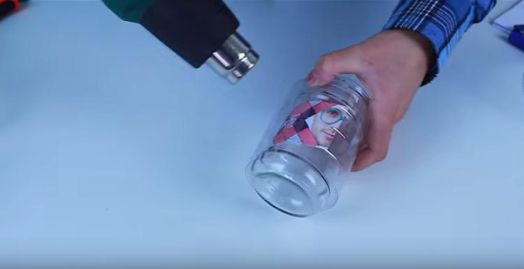 Use water bottle and hair dryer to laminate mason jar