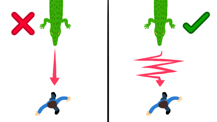 Illustration of a crocodile chasing a human
