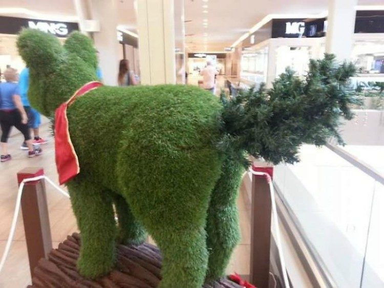 Grass bear with weirdly placed tree.