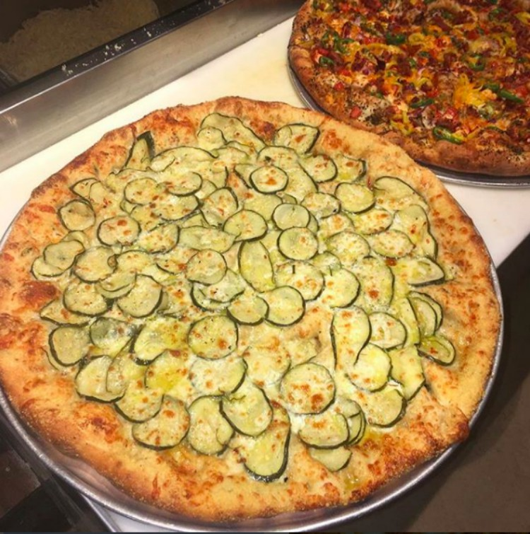 Image of pickles on a pizza