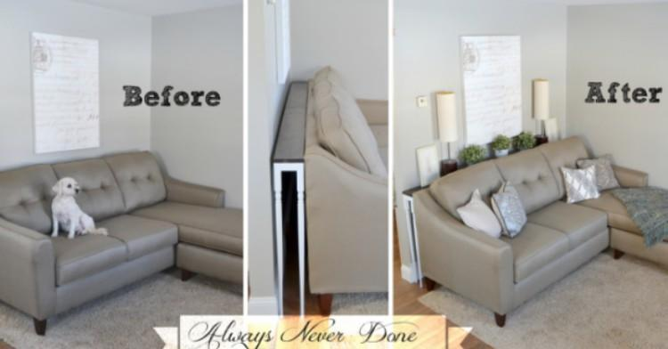 Brilliant No Room For End Tables Make This Diy Sofa Table Theyellowbook Wood Chair Design Ideas Theyellowbookinfo
