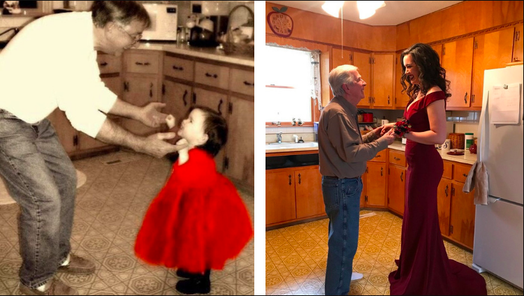 Image of dad and daughter reenactment photo in kitchen