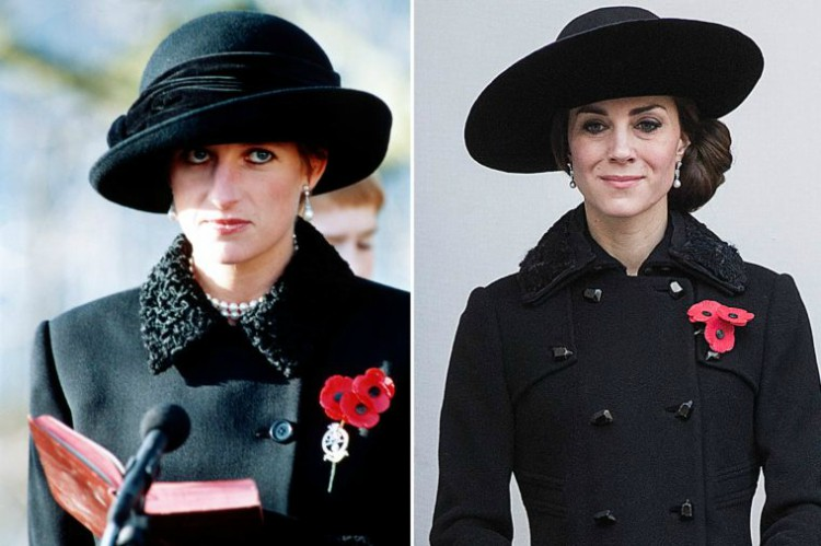 Image of Princess Diana and Kate Middleton wearing similar black outfit.