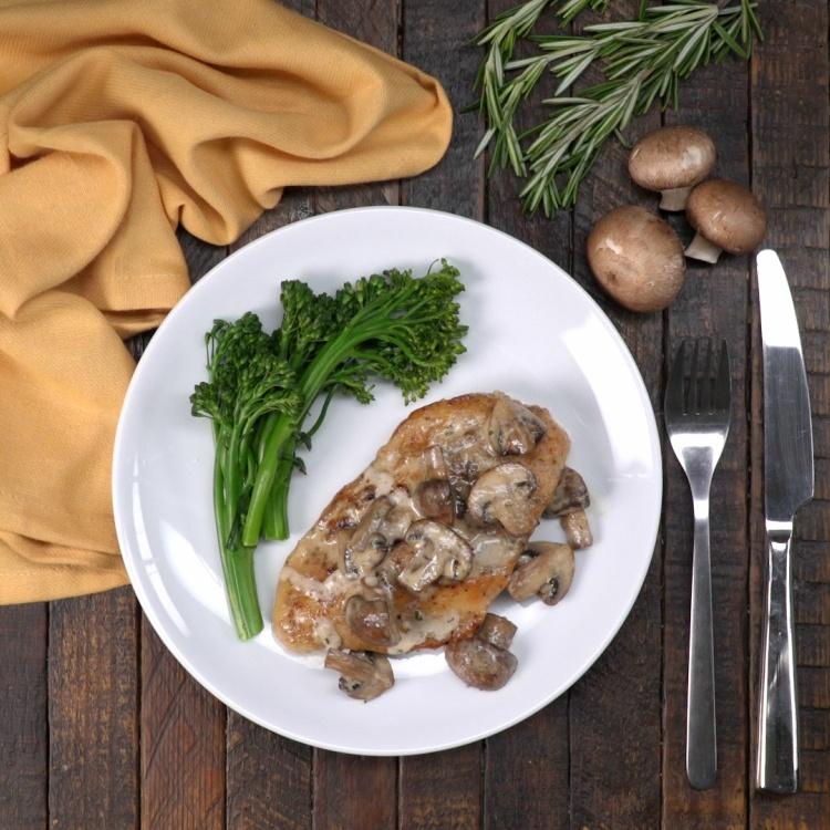 Overhead rosemary portobello chicken with asparagus
