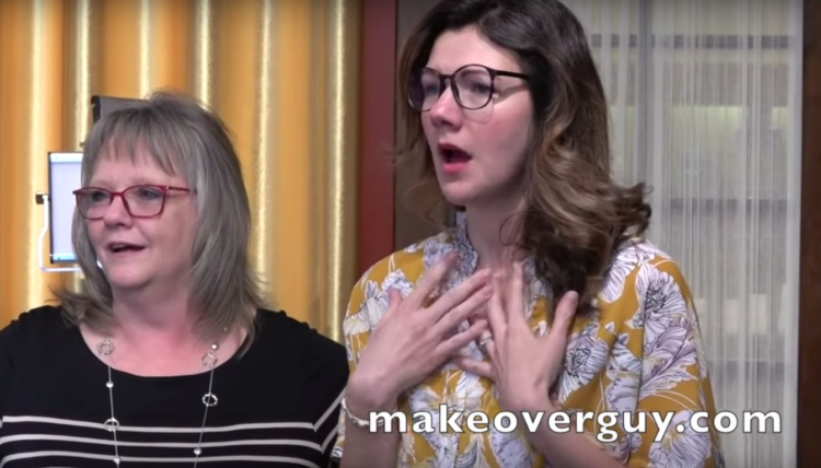Image of woman's reactions to makeover