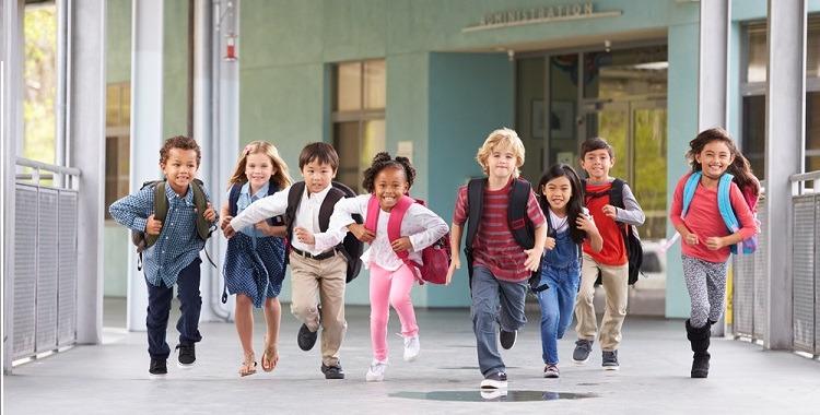Schoolkids running
