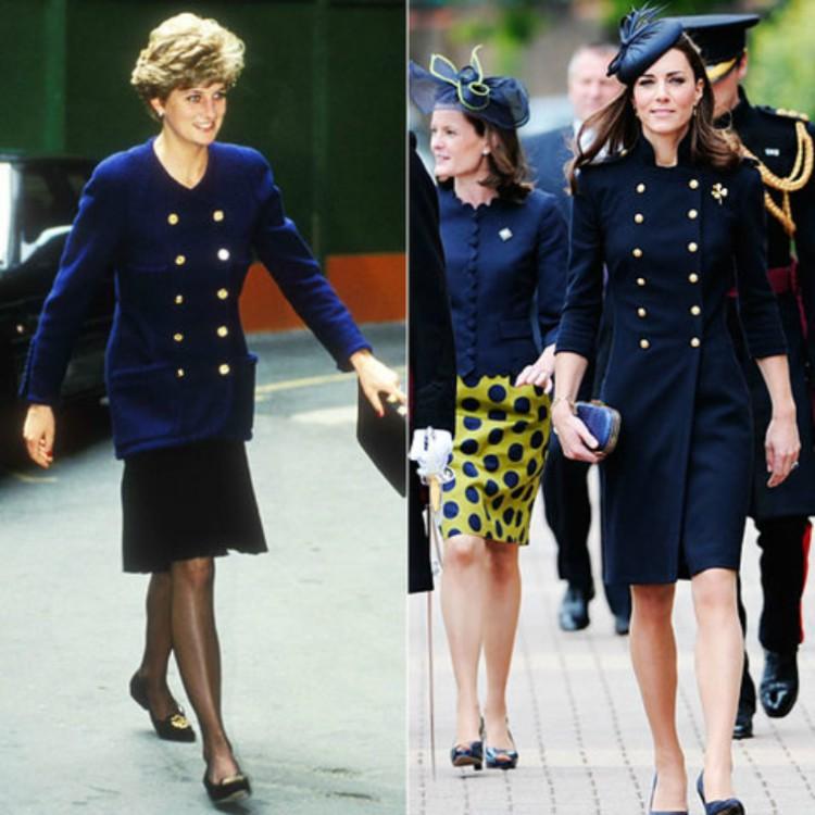 Image of Princess Diana and Kate Middleton wearing similar navy blue jacket.