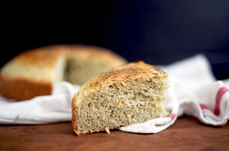 Slice of stuffing bread.