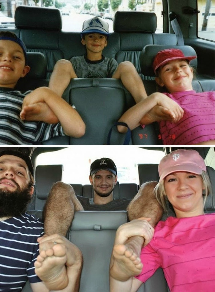Image of 3 people in car reenactment photo