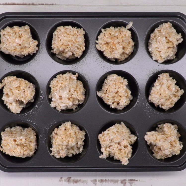 Rice Krispie Nests in muffin tin
