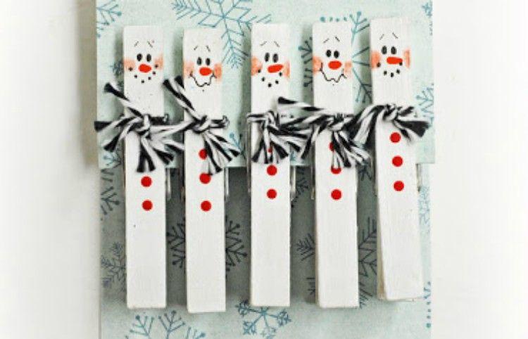 snowman clothespins