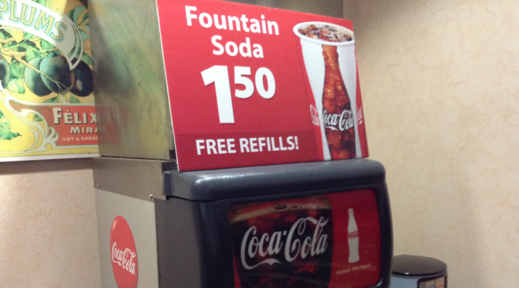 Image of free refill sign