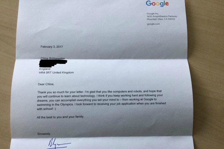 Image of little girl's letter from Google CEO.