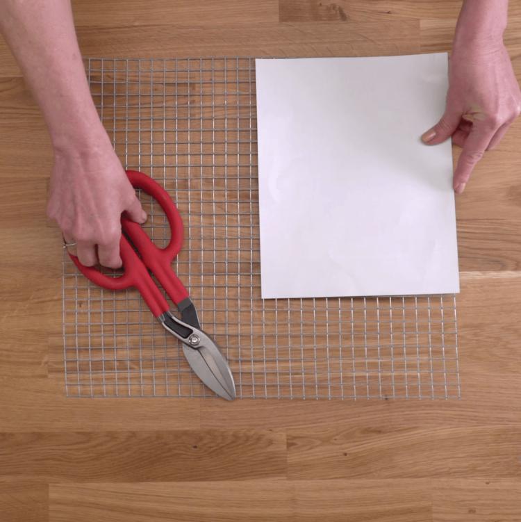Succulent Wall Garden scissors mesh cutting