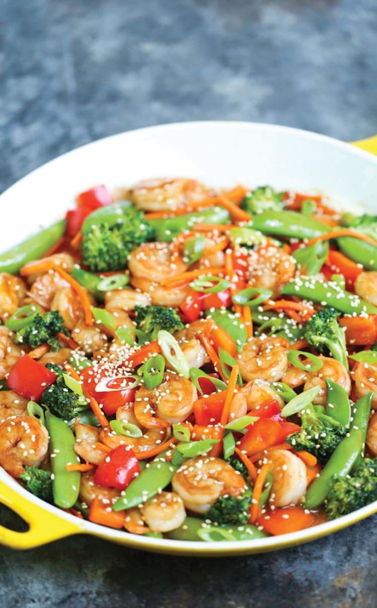 Image of shrimp stir fry in crockpot