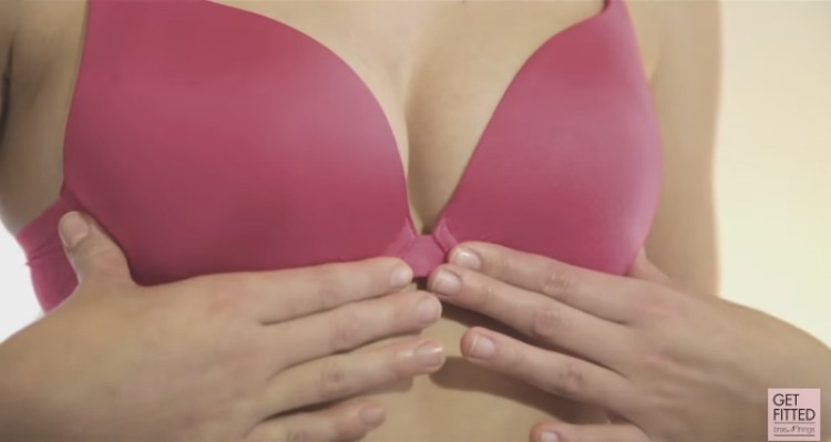 Checking underwire on bra cups to fit correctly
