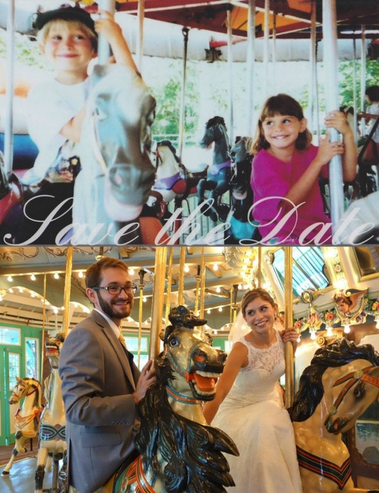 Image of couple on merry go round before and after