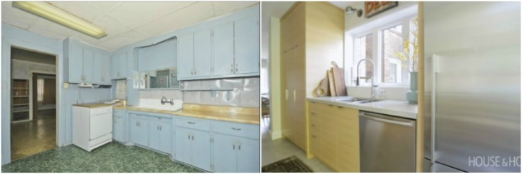 Before and after comparison of kitchen renovation