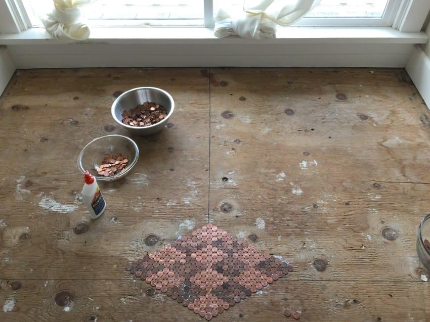 Beginning of the DIY Penny floor.