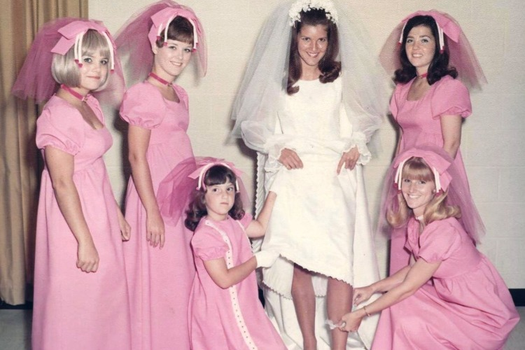 bridesmaid pink headwear