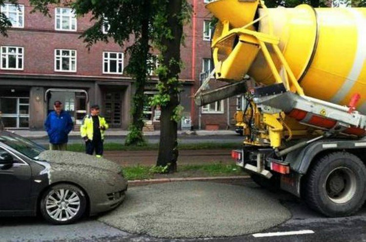 bad day car cement