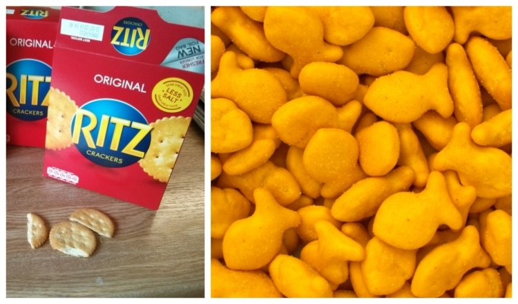 Pic of Ritz box and Goldfish snacks crackers.
