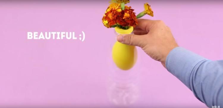 Bottle as a DIY flower vase.
