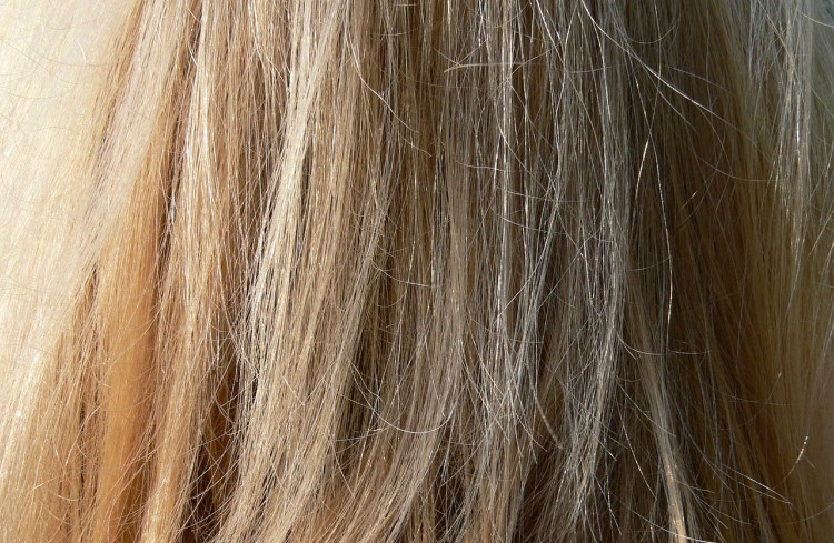 Image of long blonde hair.