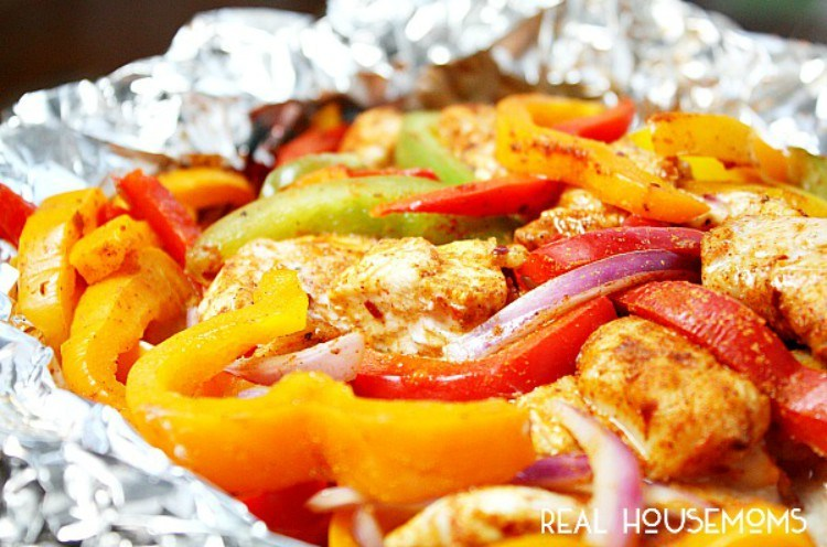 Chicken fajita in a foil packet.