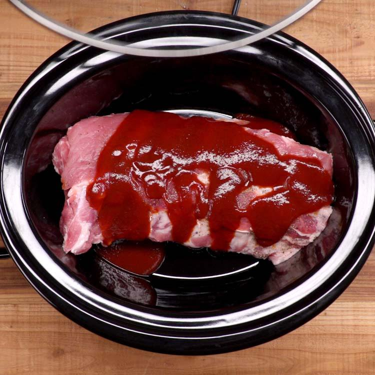 Slow Cooker BBQ Ribs in crock pot