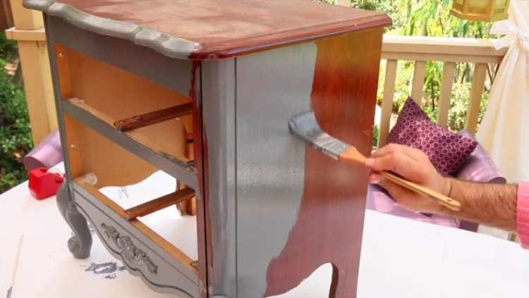 Paint entire nightstand with chosen wood paint
