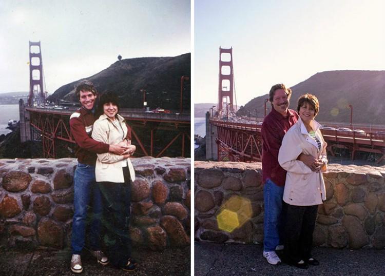 Image of couple in San Francisco reenacting photo