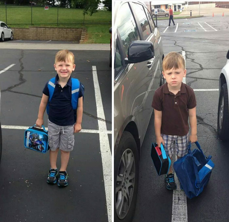kid on first day of school