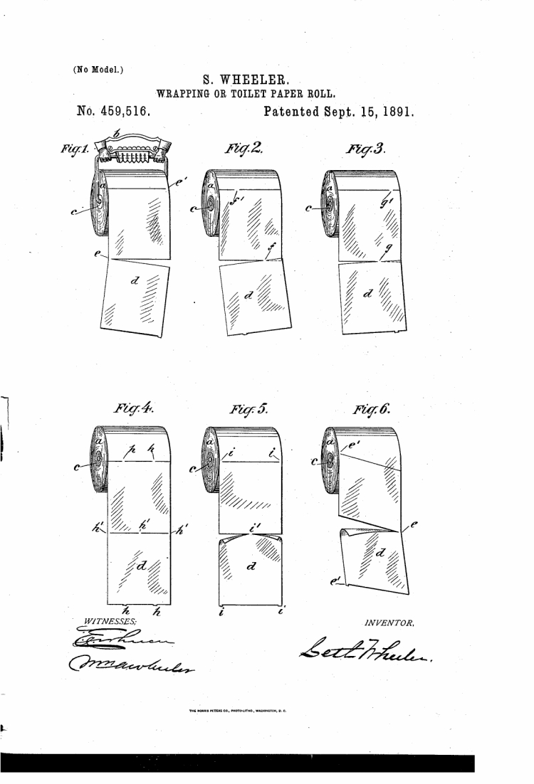 Original toilet paper patent showing roll hung going over