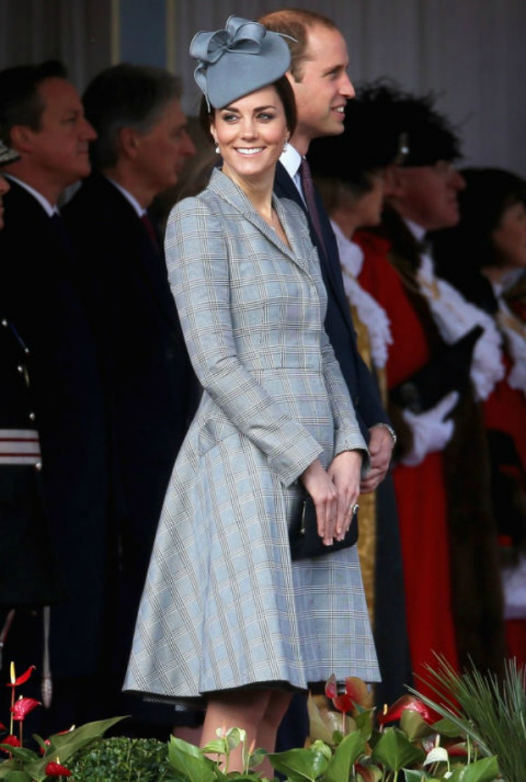 Image of Kate Middleton in periwinkle coat.