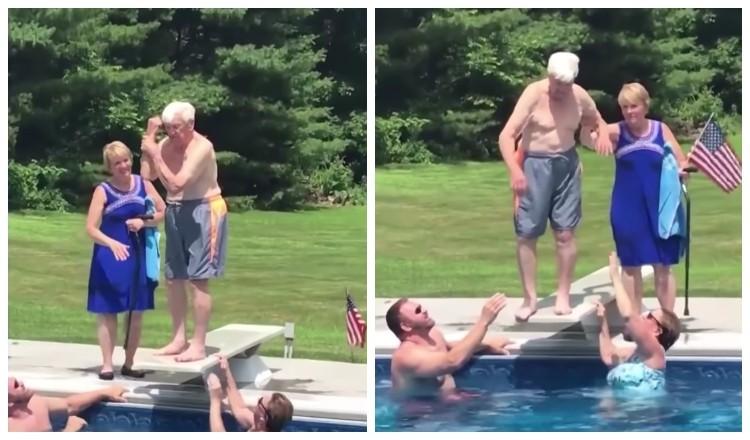 veteran on diving board
