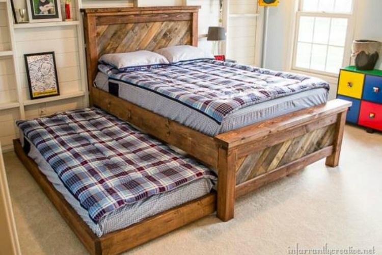 Guest bed and trundle bed made with pallets