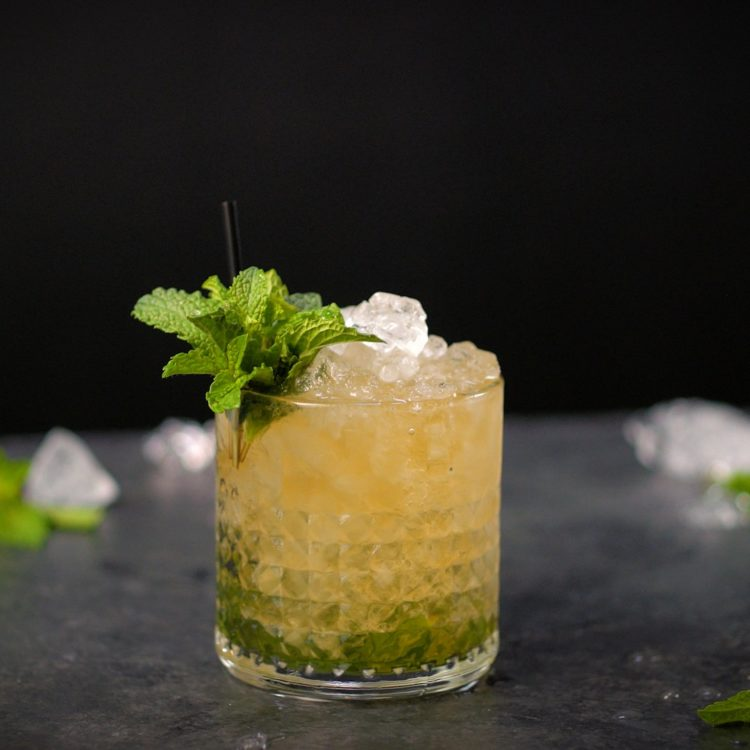mint julep in a rocks glass