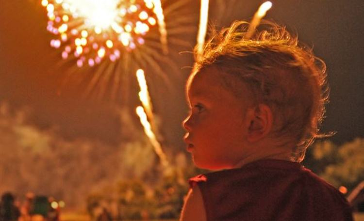 child with fireworks