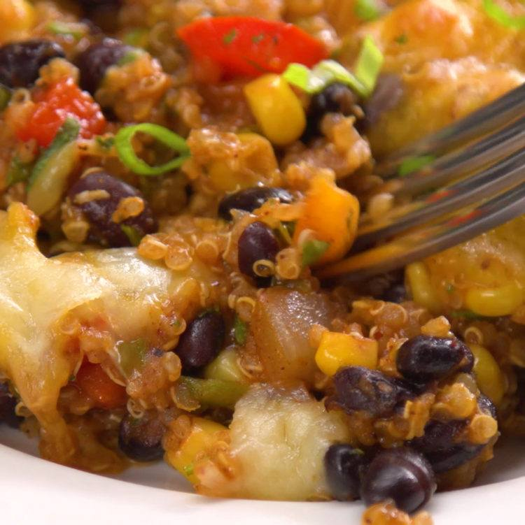 Enchilada night is about to get a lot healthier--and easier--with this fiesta casserole packed with quinoa, veggies, spicy enchilada sauce, beans & cheese.